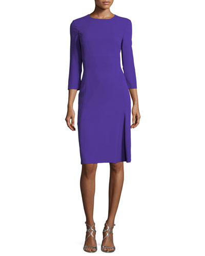 3/4-Sleeve Virgin Wool Crepe Dress