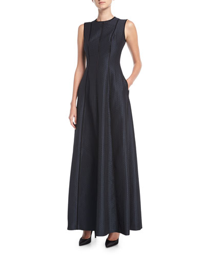 Cloquette Satin Jacquard Sleeveless Gown