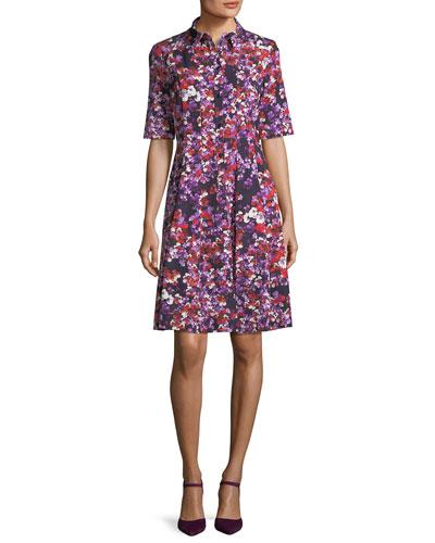 Floral-Print Elbow-Sleeve Shirtdress