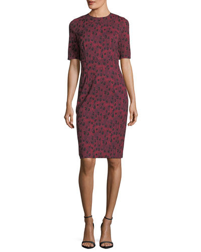 Half-Sleeve Leopard-Print Sheath Dress