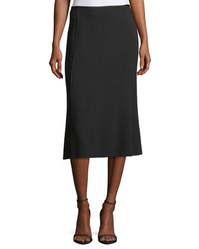Godet-Back Stretch Virgin Wool Midi Skirt