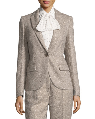 Tweed Peak-Lapel Blazer