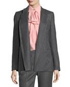 Open-Front Shawl-Collar Flannel Blazer