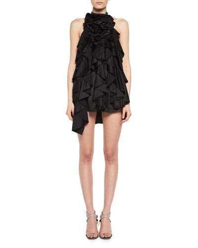 Floral-Ruffle Silk Satin Halter Minidress