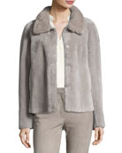 Tuscan Lamb Fur Jacket with Mink Collar