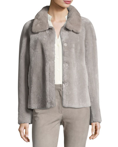 Tuscan Lamb Fur Jacket with Mink Collar