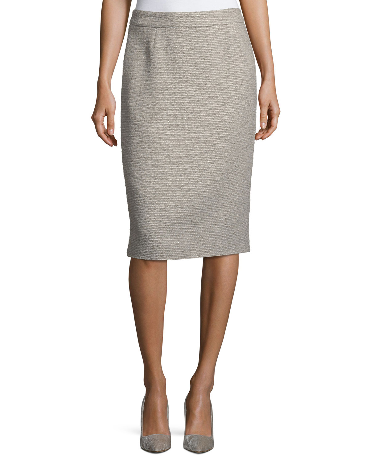Ravas Sequined Tweed Pencil Skirt