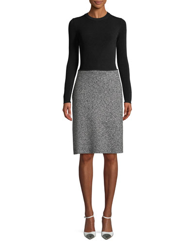Long-Sleeve Diagonal Tweed Skirt Knit Top Dress