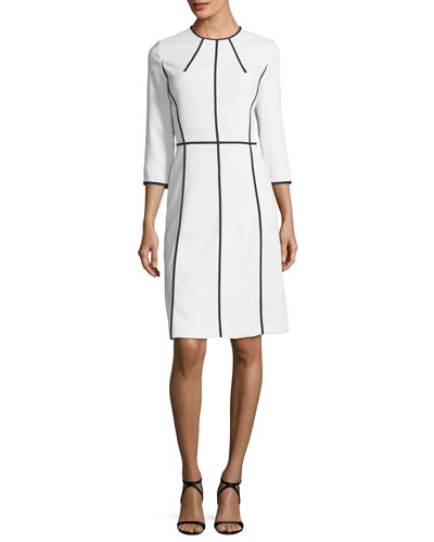 Contrast-Seam Virgin Wool Crepe Dress