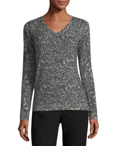 Tweed-Print Cashmere V-Neck Sweater