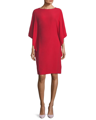 Cape-Sleeve Boat-Neck Dress