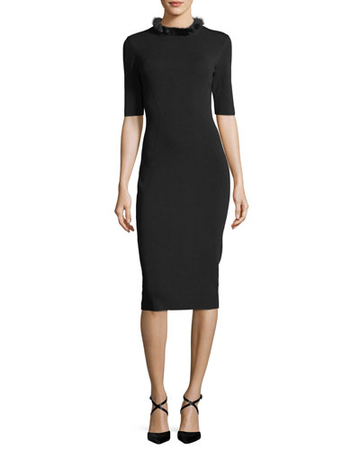 Mink-Collar Knit Sheath Dress