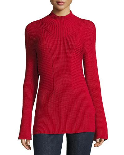 Mock-Neck Bell-Sleeve Virgin Wool Sweater