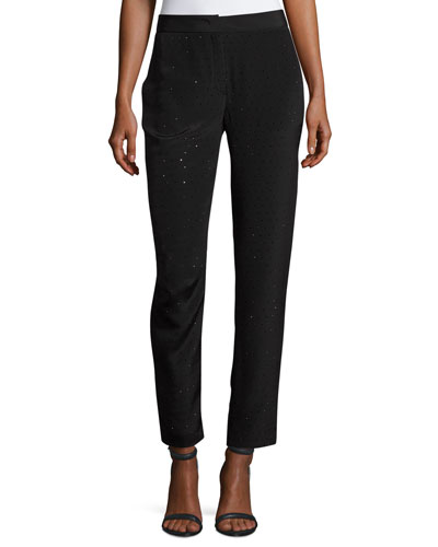 Tullule Crystal-Embellished Silk Ankle Pants
