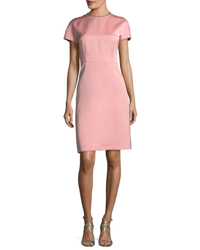 Satin Embellished-Collar A-Line Cocktail Dress
