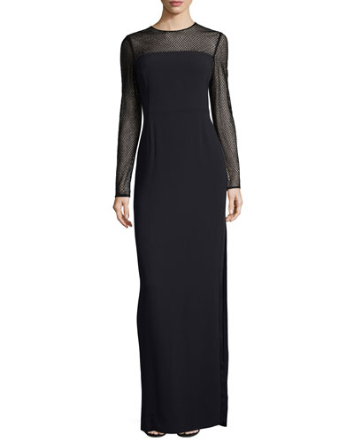 Mesh-Yoke Long-Sleeve Gown