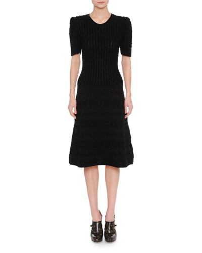 Elbow-Sleeve Midi Cocktail Dress