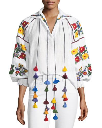 Floral-Embroidered Linen Tassel Blouse