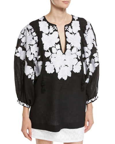 Floral-Embroidered Puff-Sleeve Linen Blouse