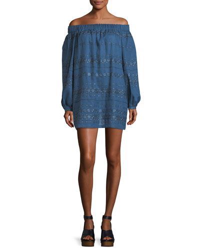 Embroidered Linen Off-the-Shoulder Minidress
