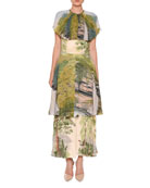 Landscape-Print Tiered Capelet Dress, Multi