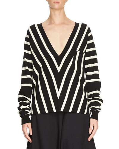 Chevron V-Neck Knit Top, Black/White