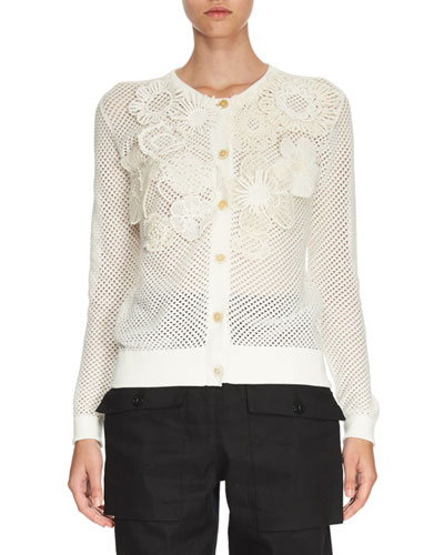 Crochet-Flower Perforated Cardigan, White