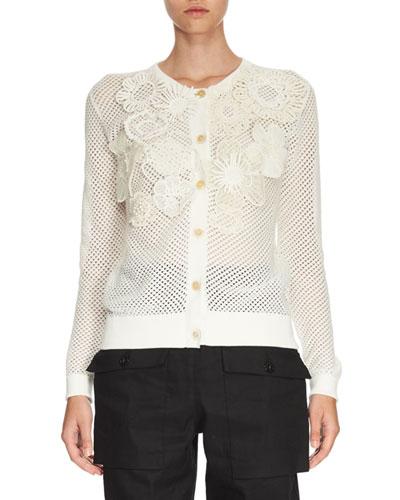 Crochet-Flower Perforated Cardigan, White