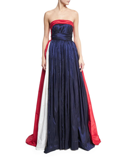 Strapless Tricolor Taffeta Ball Gown, Blue/Multi