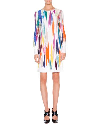 Long-Sleeve Intarsia Sheath Dress, White Multi
