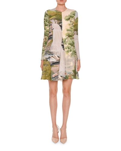 Long-Sleeve Landscape-Print Swing Dress, Multi