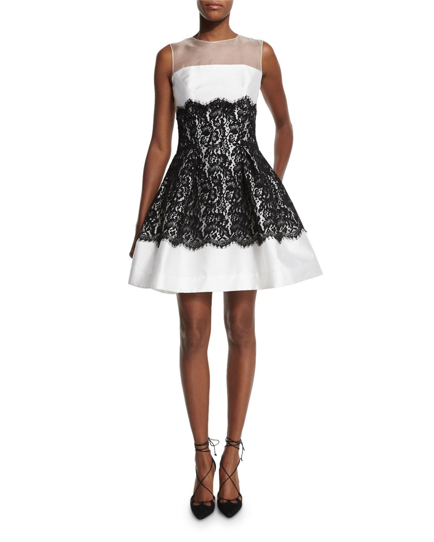 Sleeveless Mikado-Lace Cocktail Dress, White/Black