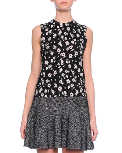 Floral-Print Shell Top, Black/White