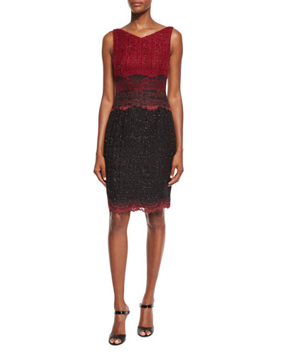 Roxie Iridescent Tweed & Lace Sheath Dress, Red