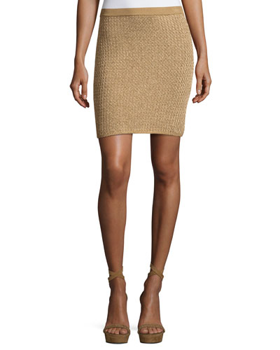 Knit Mini Skirt, Gold