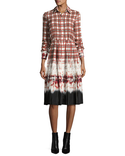 Maria Plaid Tie-Dye Voile Shirtdress
