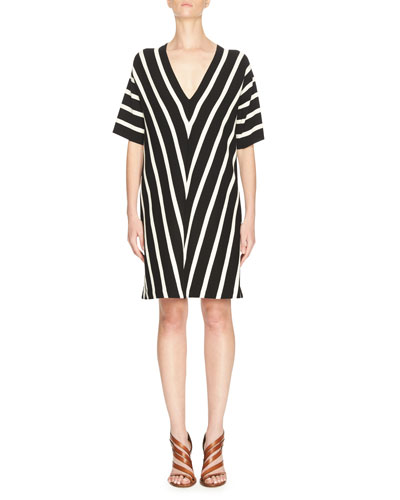 Chevron V-Neck Short-Sleeve Knit Dress, Black/White