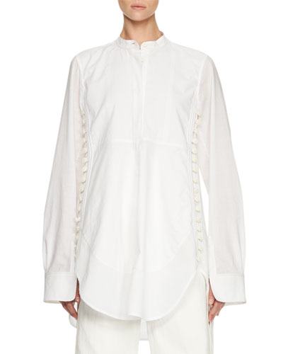 Side-Button Long-Sleeve Tunic, White