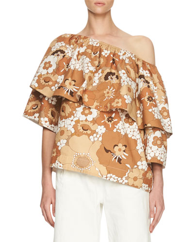 Floral Slouchy Half-Sleeve Blouse, Brown/Multi
