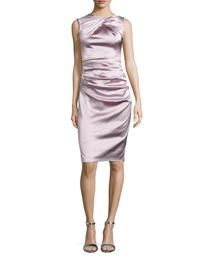 Sleeveless Ruched Cocktail Dress, Marble (Beige)