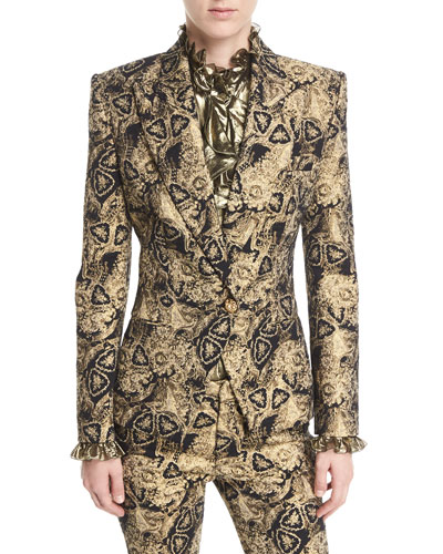 Metallic Jacquard One-Button Jacket