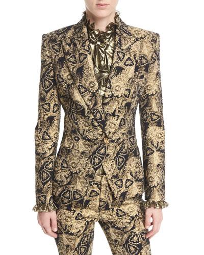 Metallic Jacquard One-Button Jacket