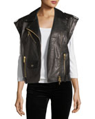 Oversized Leather Moto Vest