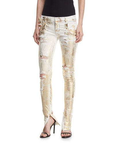 Distressed Metallic Zip-Cuff Jeans