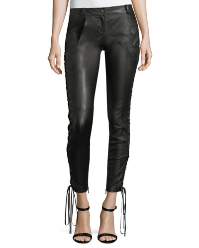 Leather Skinny Pants w/Lace-Up Sides