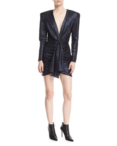 Long-Sleeve Shirred Metallic Jacquard Dress