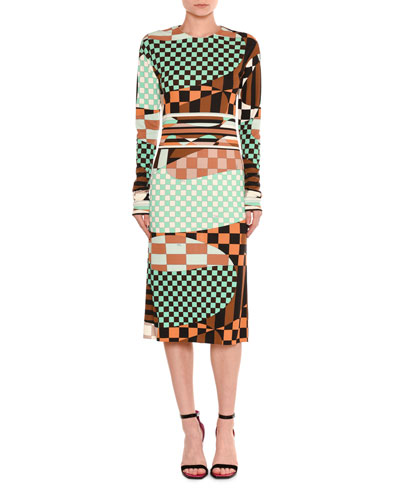 Marillyn Retro Geometric Optical-Print Midi Dress
