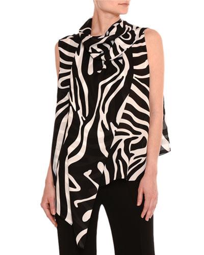 Zebra-Print Silk Necktie Blouse