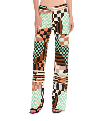 Retro Geometric Optical-Print Palazzo Pants