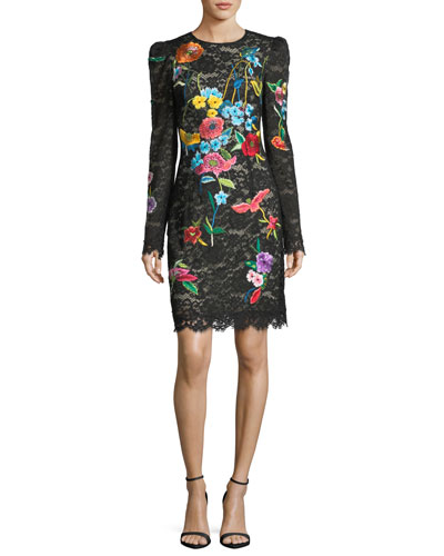 Floral-Embroidered Long-Sleeve Lace Cocktail Dress
